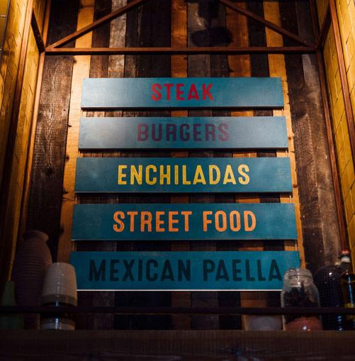 The range of food Chiquito's serves: Steak, Burgers, Enchiladas, Street Food, Mexican Paella