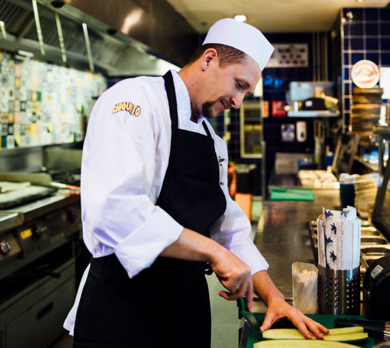 Inside the kitchen of a Chiquito restaurant
